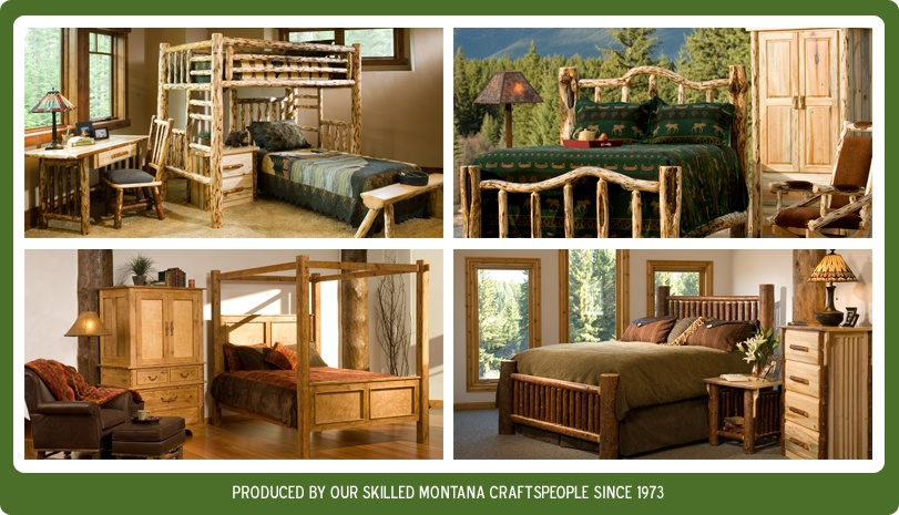 View montana log furniture built in our workshop.