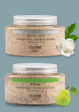L'EUDINE SHOWER SCRUB PEAR WHITE ROSE