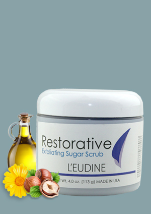 L'EUDINE RESTORATIVE EXFOLIATING SUGAR SCRUB (EXFOLIANTE) Net Wt. 4.0 oz. (113g) MADE IN U.S.A.