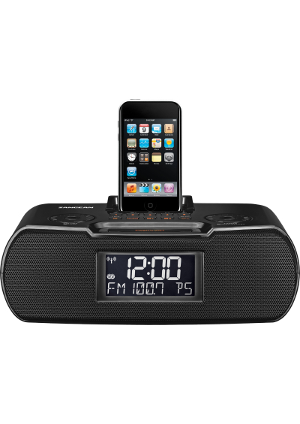 SangeanRCR10black Atomic Clock Radio Compatible w. iPod