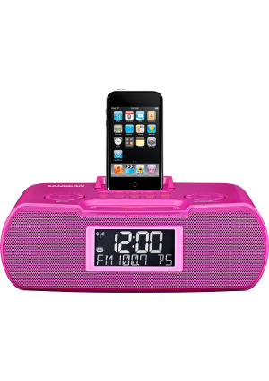 SangeanRCR10pink Atomic Clock Radio Compatible w. iPod