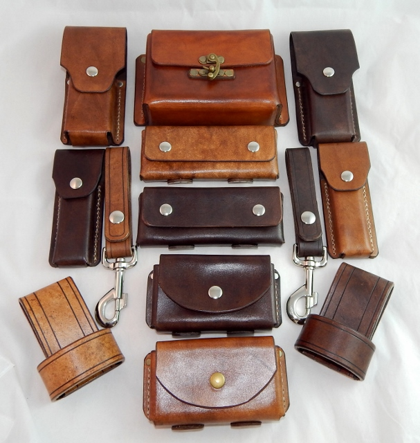 Hand made leather pouches and belt loop hangers