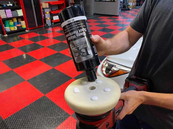 BLACKFIRE Glass Water Spot Remover on a polisher