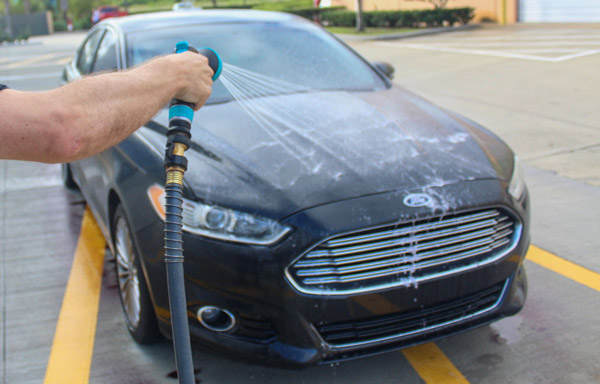 We are making sure to rinse it thoroughly because any that is left to dry on the surface may cause some unwanted staining.