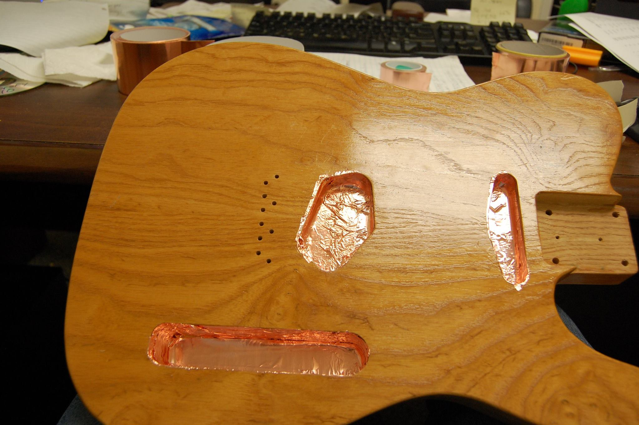 UV aging a guitar neck for a Telecaster