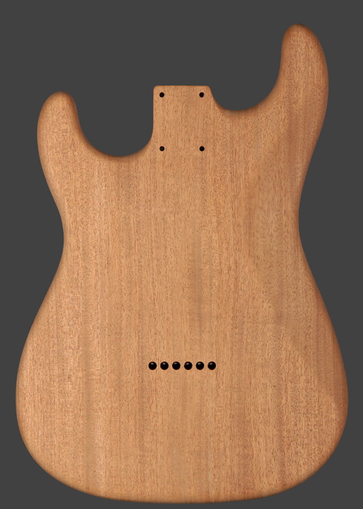 mahogany stratocaster for aging with UVA light, back view