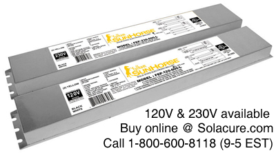 Sunhorse ballasts for uv curing and growing lights for plants