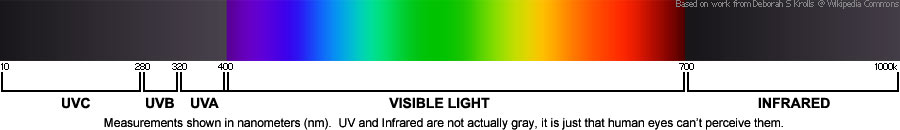 UV spectrum compared to visible spectrum