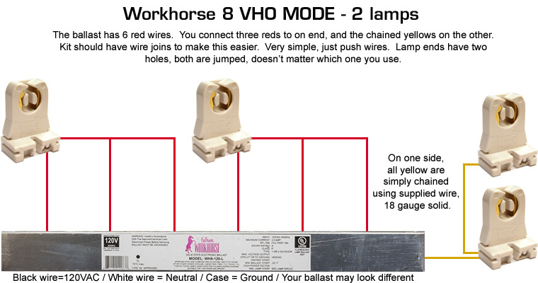 VHO curing lamp configuration and wiring diagram