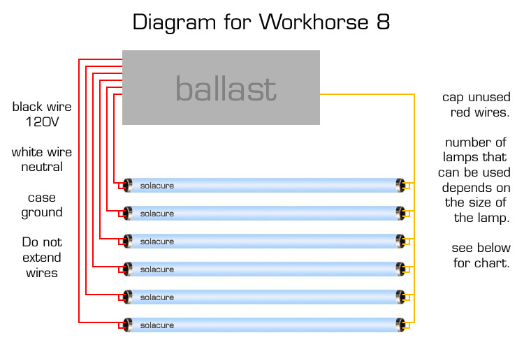 workhorse 8 diagram the workhorse 8 certainly lives up to its and is one of the most flexible ballasts made this diagram shows the basic wiring diagram for 6 bulbs
