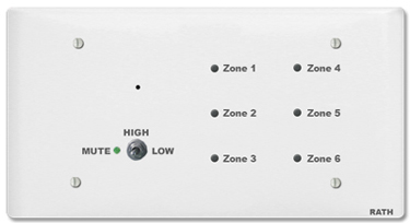 RATH® CliniCare 6 Zone/Room Annunciator 2900-6AP Series (Available in White & Stainless Steel)