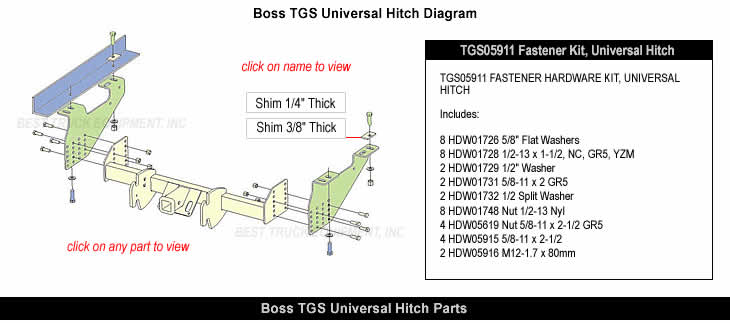 Boss Universal Hitch Part Diagram