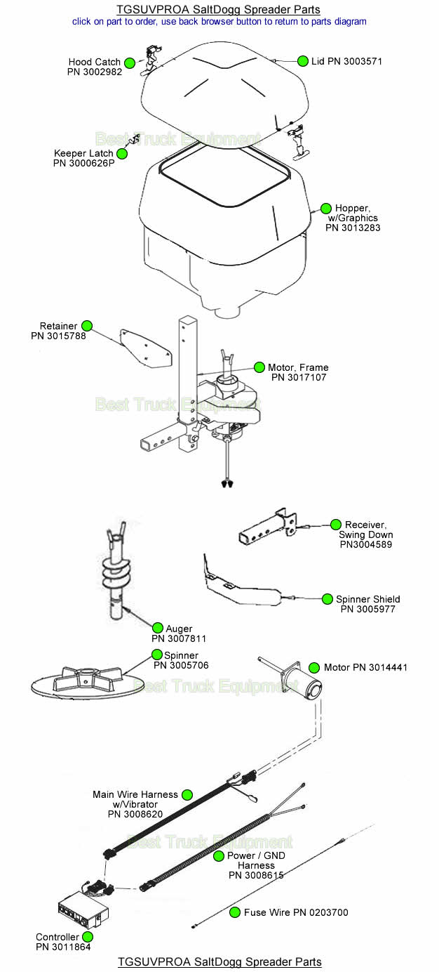 SaltDogg TGSUVPRO TGSUVPROA Buyers Part Diagram Salt Spreader