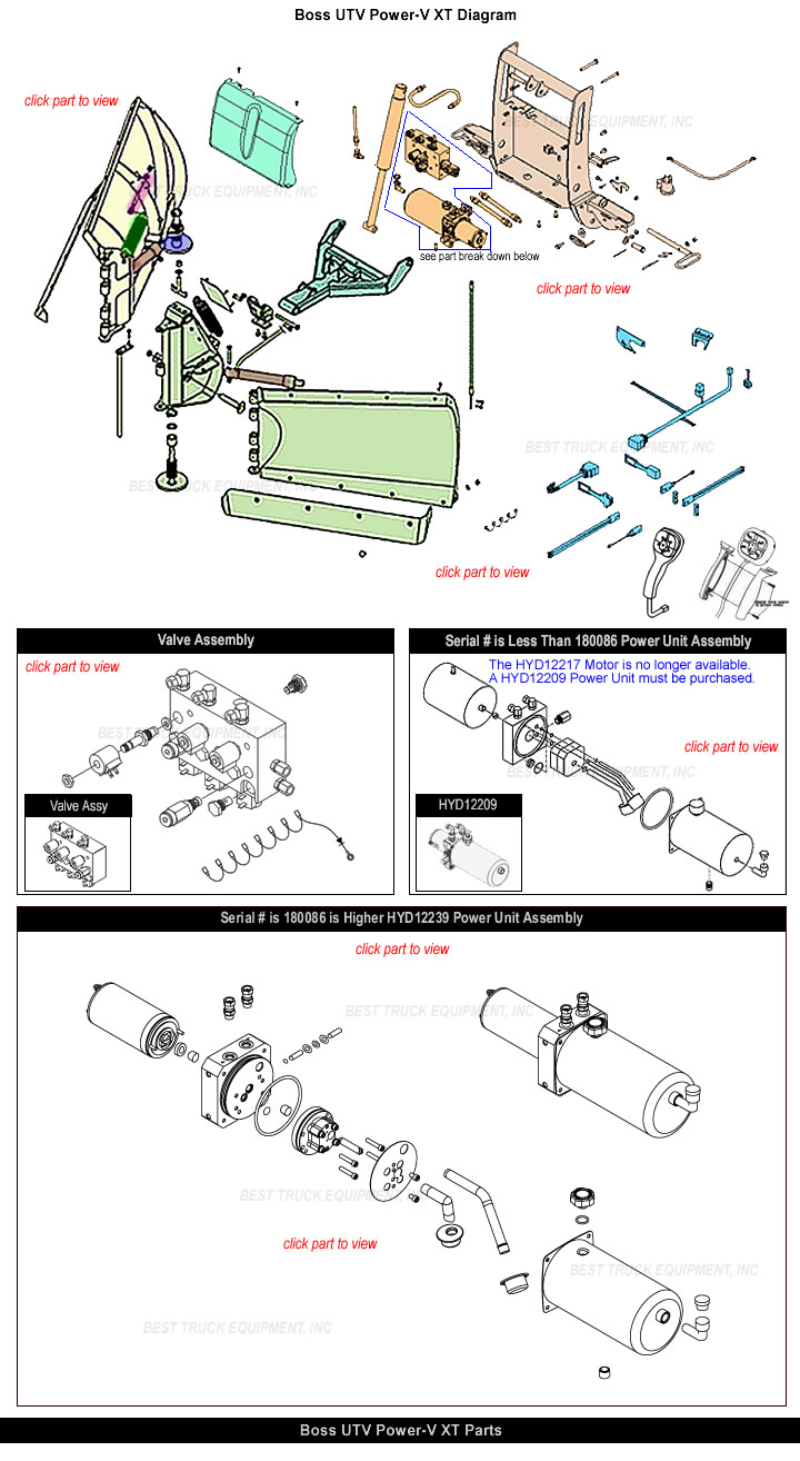 Boss UTV Power V Snow Plow Parts Part Look Up Diagram