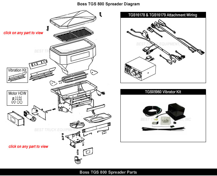 Boss TGS800 Salt Spreader Parts & Parts Exploded View DiagramBest Truck Equipment, Inc.