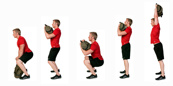 sandbag exercise � clean to squat to press