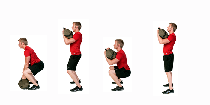 sandbag exercise - clean to squat