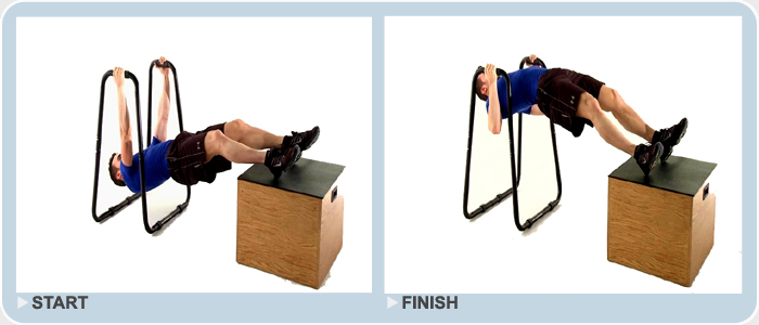 elevated bodyweight rows using dip station