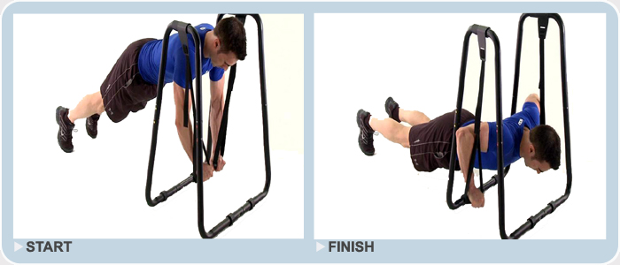 advanced rings push up exercise on dip station
