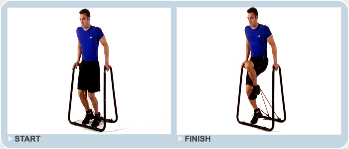 advanced exercise - resistance knee raises on dip stand