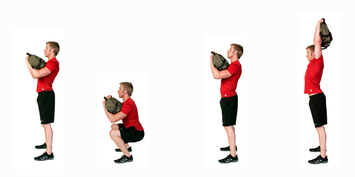 sandbag exercise front squat to press
