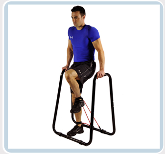 knee raises with resistance bands