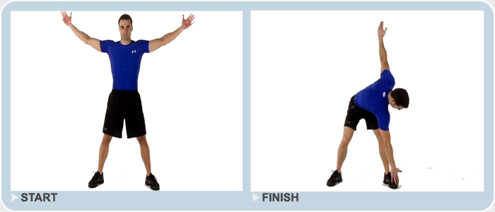 standing windmill body weight exercise