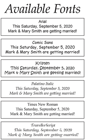Personalized Cross and Dove Pen Wedding Favors Fonts