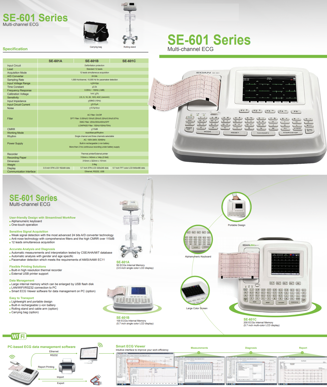 Details about NEW ! EDAN SE-601C 6 Ch  12 Lead ECG Machine w/5 7