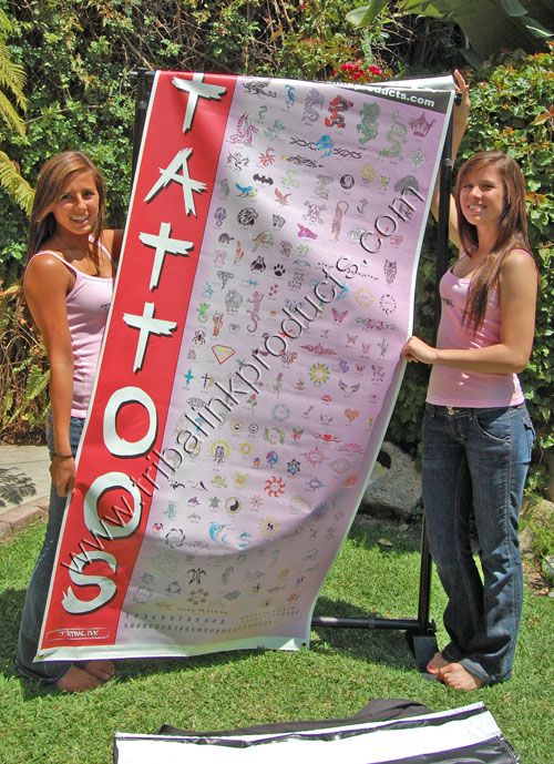 Airbrush tattoo banner,two sided display,Airbrush Tattoo display, Airbrush tattoo designs,airbrush tattoos,airbrush tattoo