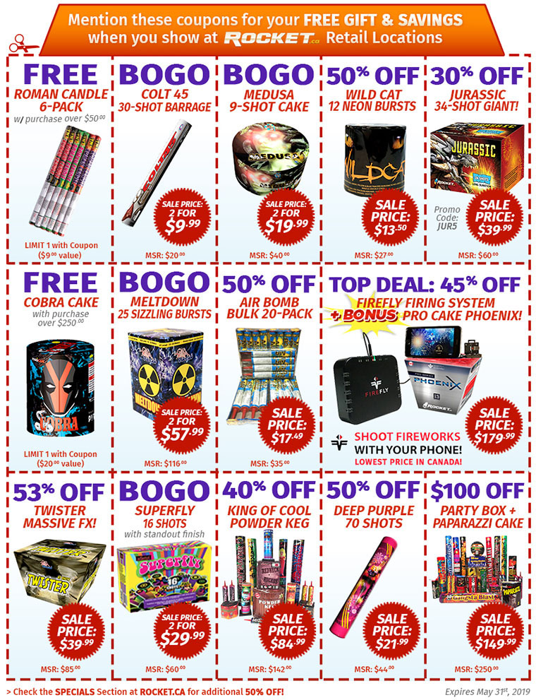 ROCKET Fireworks - Toronto, Canada - Store Coupon