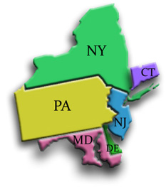 map of New York, Delaware, New Jersey, Connecticut, Maryland, and Pennsylvania