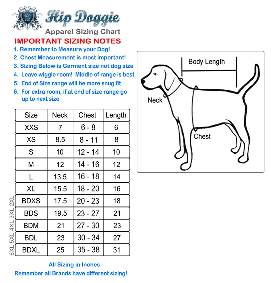 Hip Doggie Sizing