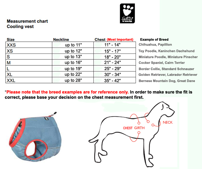 hurtta motivation cooling vest size chart