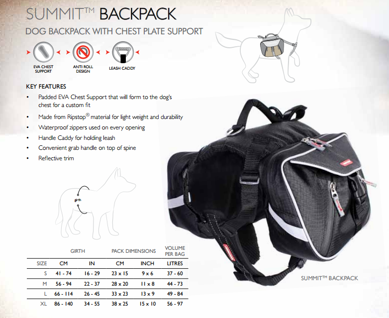Ezydog Summit Pack Backpack For Dogs