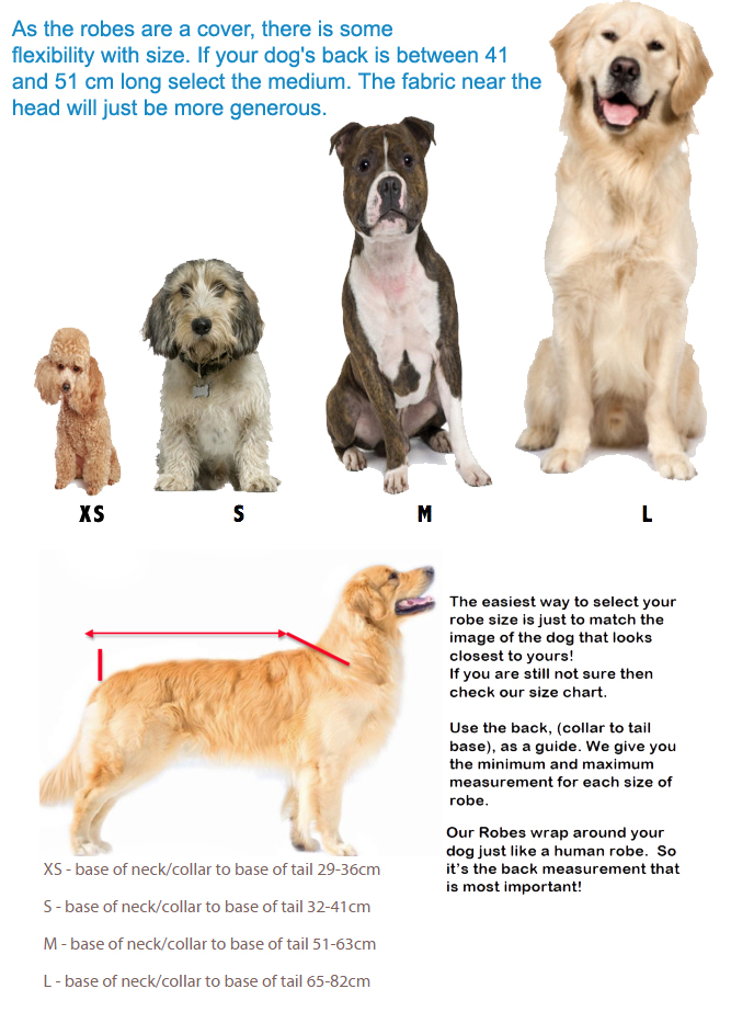 dog drying coats sizing guide surf dog australia robe