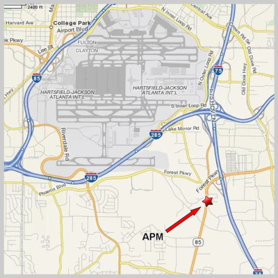 We're locted just South of the intersection of I-285 and I-75 on GA Hwy. 85