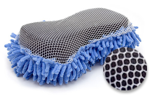 The soft microfiber wash sponge has a mesh overlay to remove bugs, sap and bird droppings.