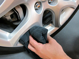 Buff wheels dry with the Wheel Detailing Towel.