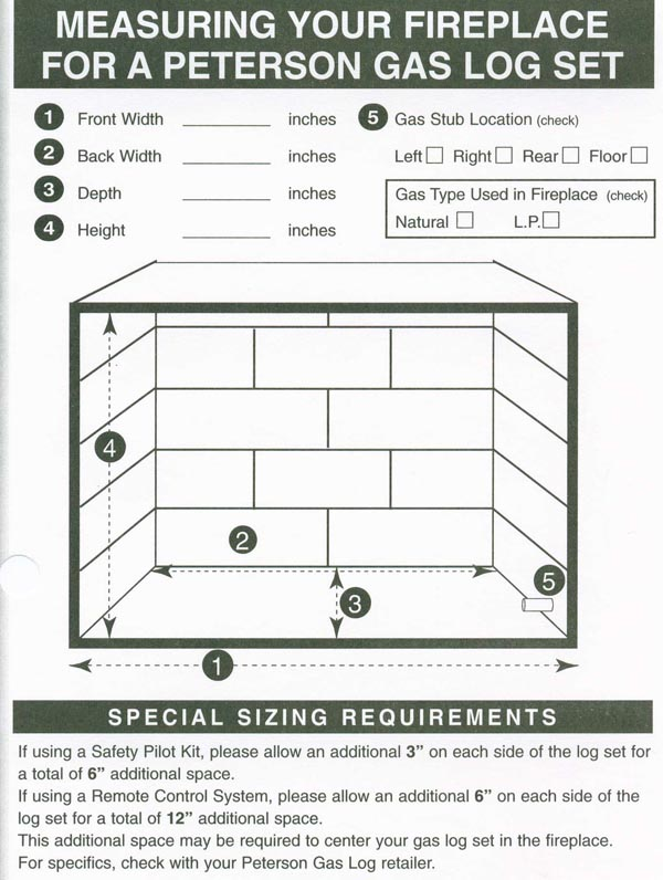 Measuring for Gas Logs - Measuring for Gas Logs is one of the easiest things someone can do. All you need is the print out below and a measuring tape. If you are in the market for gas logs then you need to know how to measure for installing gas logs. ...