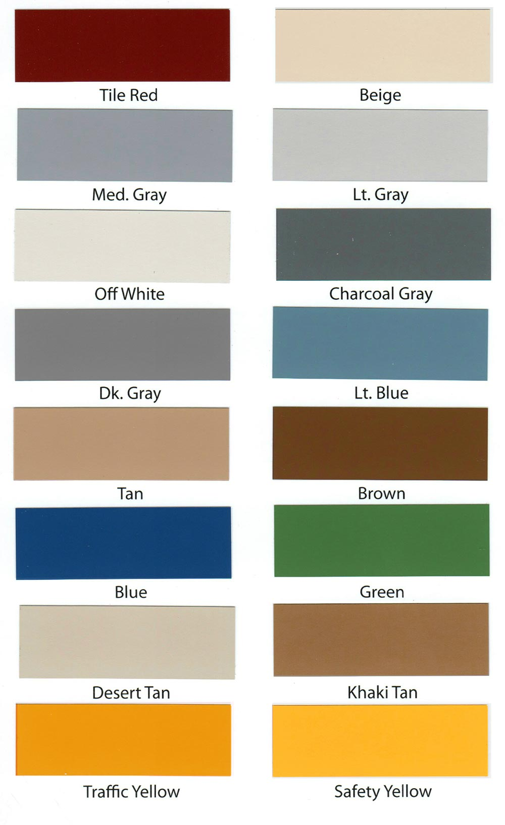 epoxy flooring color chart
