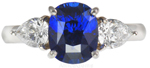 Royal Blue Sapphire & Diamond Platinum Ring