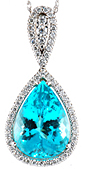 Best Quality Paraiba Tourmaline Custom Set White Gold Diamond Pendant