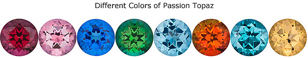 Different Colors of Passion Topaz Gems