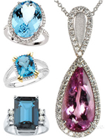 Topaz Rings in Sky Blue, Swiss Blue, London Blue and Imperial Topaz