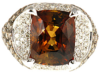 Unique Dravite Tourmaline & Diamond Gold Ring showing Ultra Gem High Quality Dravite Gemstone