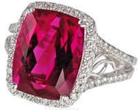 Extreme Quality Red Tourmaline Set White Gold Diamond Ring