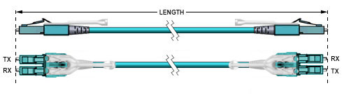 Technical Drawing - LC to LC Fiber Optic Patch Cable