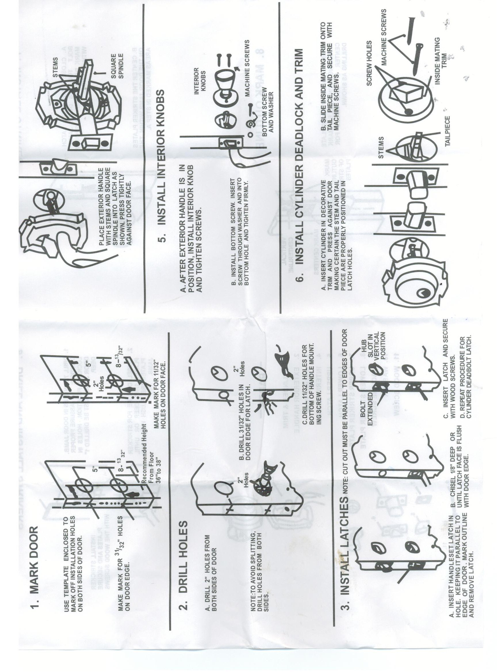 Front Door Handle Set Installation Instruction Page 1